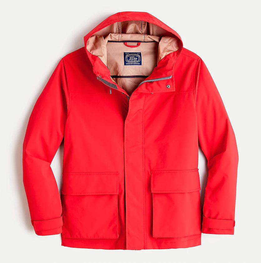 "<p><strong>J.Crew</strong></p><p>jcrew.com</p><p><strong>$148.00</strong></p><p><a href=""https://go.redirectingat.com?id=74968X1596630&url=https%3A%2F%2Fwww.jcrew.com%2Fp%2FAJ375&sref=https%3A%2F%2Fwww.menshealth.com%2Fstyle%2Fg32904980%2Fbest-rain-jackets-for-men%2F"" rel=""nofollow noopener"" target=""_blank"" data-ylk=""slk:BUY IT HERE"" class=""link rapid-noclick-resp"">BUY IT HERE</a></p><p>J.Crew's rain jacket is waterproof, of course, but it's also made with a stretch fabric—a welcome detail for those accustomed to old-school stuffy rain coats. </p>"