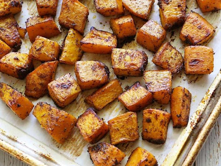 """<p>Roasting pumpkin in the oven brings out its natural sweetness. Toss the veggie with chili powder and garlic for the perfect balance of savory and sweet. </p><p><strong>Get the recipe at <a href=""""https://healthyrecipesblogs.com/baked-pumpkin/"""" rel=""""nofollow noopener"""" target=""""_blank"""" data-ylk=""""slk:Healthy Recipes Blog"""" class=""""link rapid-noclick-resp"""">Healthy Recipes Blog</a>.</strong></p>"""