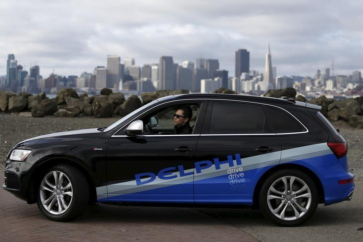 Autonomous car from Delphi drives on Treasure Island in preparation for a cross-country trip from San Francisco to New York City in San Francisco,