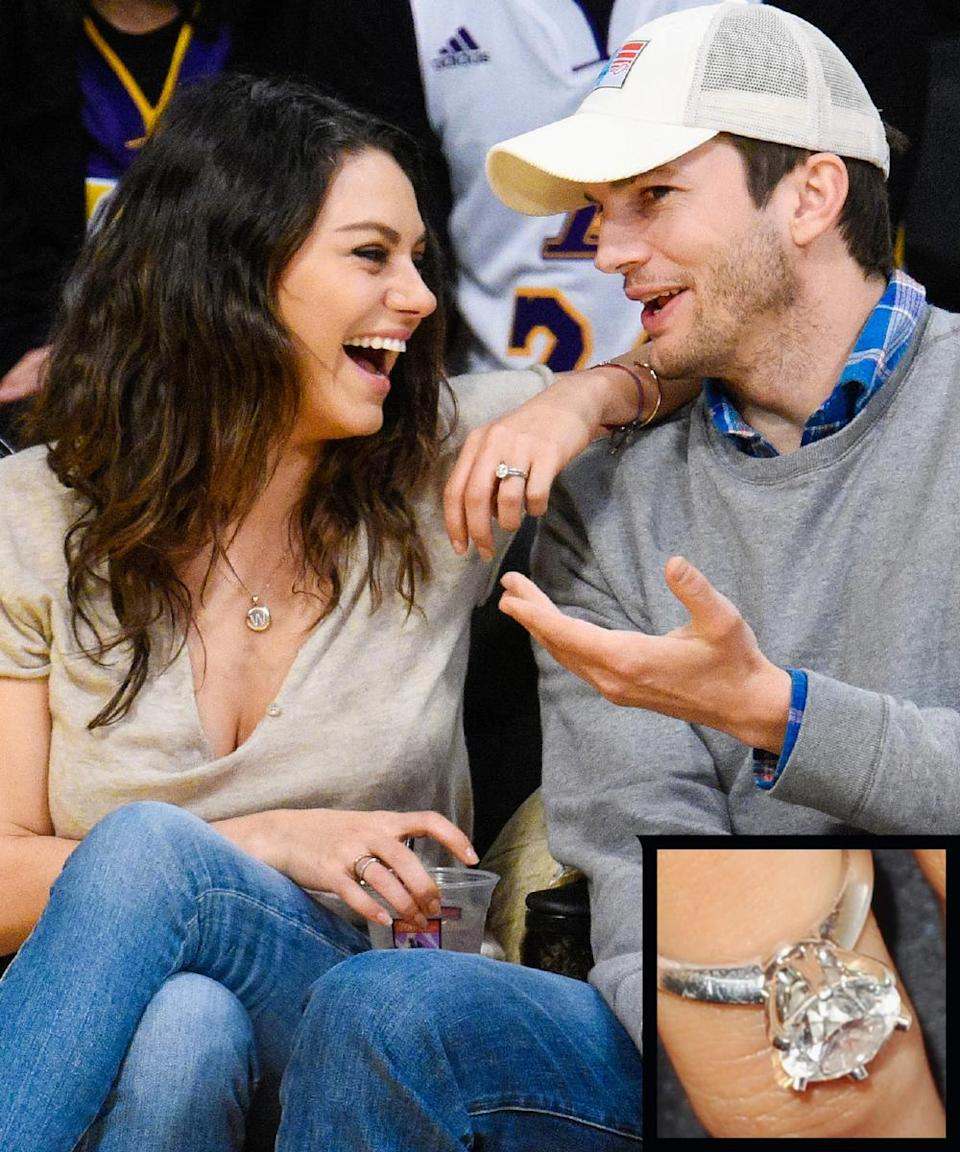 """<p>Actor Ashton Kutcher proposed to his fellow <em>That '70s Show</em> castmate Mila Kunis in 2014 with a <a rel=""""nofollow noopener"""" href=""""http://www.instyle.com/news/big-photo-big-rock-former-70s-show-stars-mila-kunis-and-ashton-kutcher-are-engaged"""" target=""""_blank"""" data-ylk=""""slk:solitaire diamond ring"""" class=""""link rapid-noclick-resp"""">solitaire diamond ring</a>. The couple wed on July 4, 2015.</p>"""