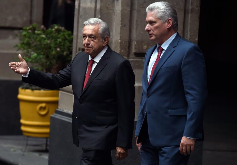 Cuban President Miguel Diaz-Canel (R) walks with Mexican President Andres Manuel Lopez Obrador during his reception ceremony at the National Palace in Mexico City, on October 17, 2019. (Photo by ALFREDO ESTRELLA / AFP) (Photo by ALFREDO ESTRELLA/AFP via Getty Images)