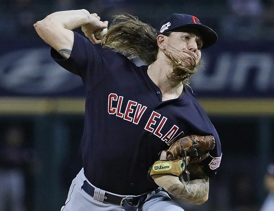 Starting pitcher Mike Clevinger #52 of the Cleveland Indians