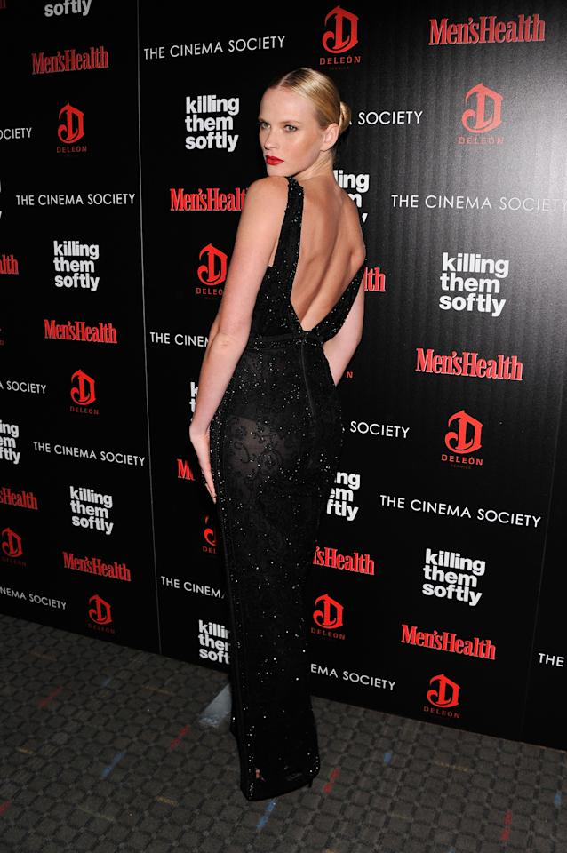 "NEW YORK, NY - NOVEMBER 26:  Model Anne V. attends The Cinema Society with Men's Health and DeLeon hosted screening of The Weinstein Company's ""Killing Them Softly"" on November 26, 2012 in New York City.  (Photo by Stephen Lovekin/Getty Images)"