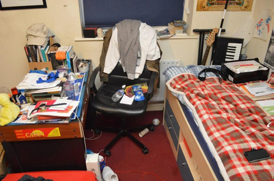 Hannam's desk and bed. (PA)