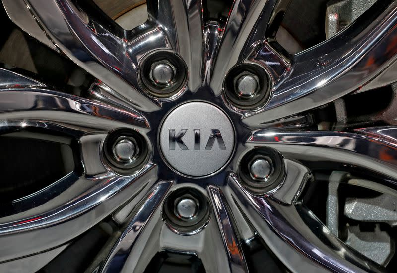 FILE PHOTO: The logo of Kia Motors is seen on a wheel at the India Auto Expo 2020