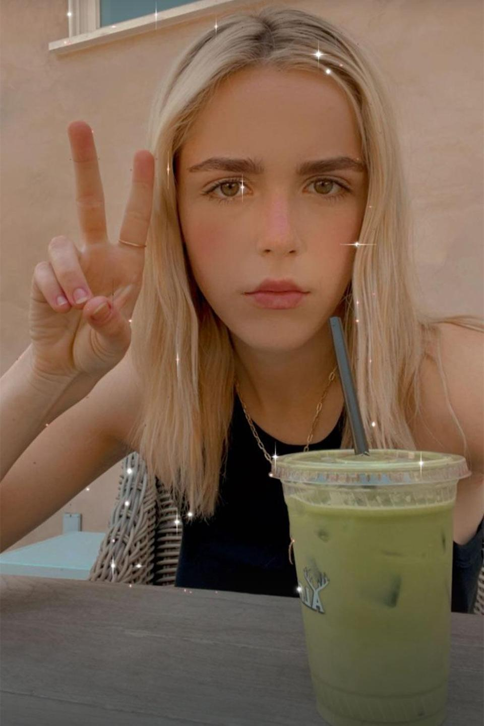 <p>The actress, 21, snapped this cute selfie while enjoying a matcha drink.</p>