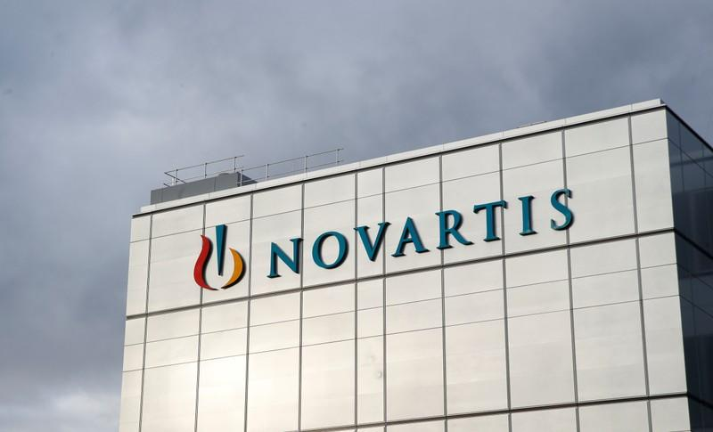 Logo is seen at new factory of Novartis in Stein
