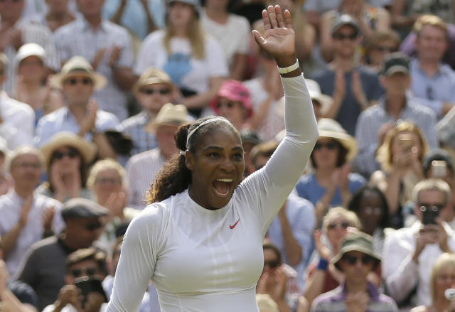 Serena Williams of the United States celebrates defeating Germany's Julia Gorges in their women's singles semifinals match at the Wimbledon Tennis Championships, in London, Thursday July 12, 2018.(AP Photo/Tim Ireland)