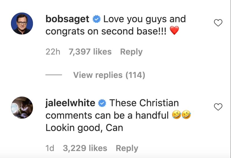 Bob Saget and Jaleel White weighed in on Candace Cameron Bure's controversial Instagram post. (Screenshot: Instagram/CandaceCameronBure)