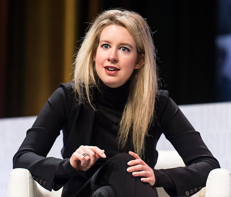 Elizabeth Holmes wears a black turtleneck while speaking at the Forbes 30 Under 30 Summit in Philadelphia on Oct. 5, 2015.  (Photo: Gilbert Carrasquillo via Getty Images)