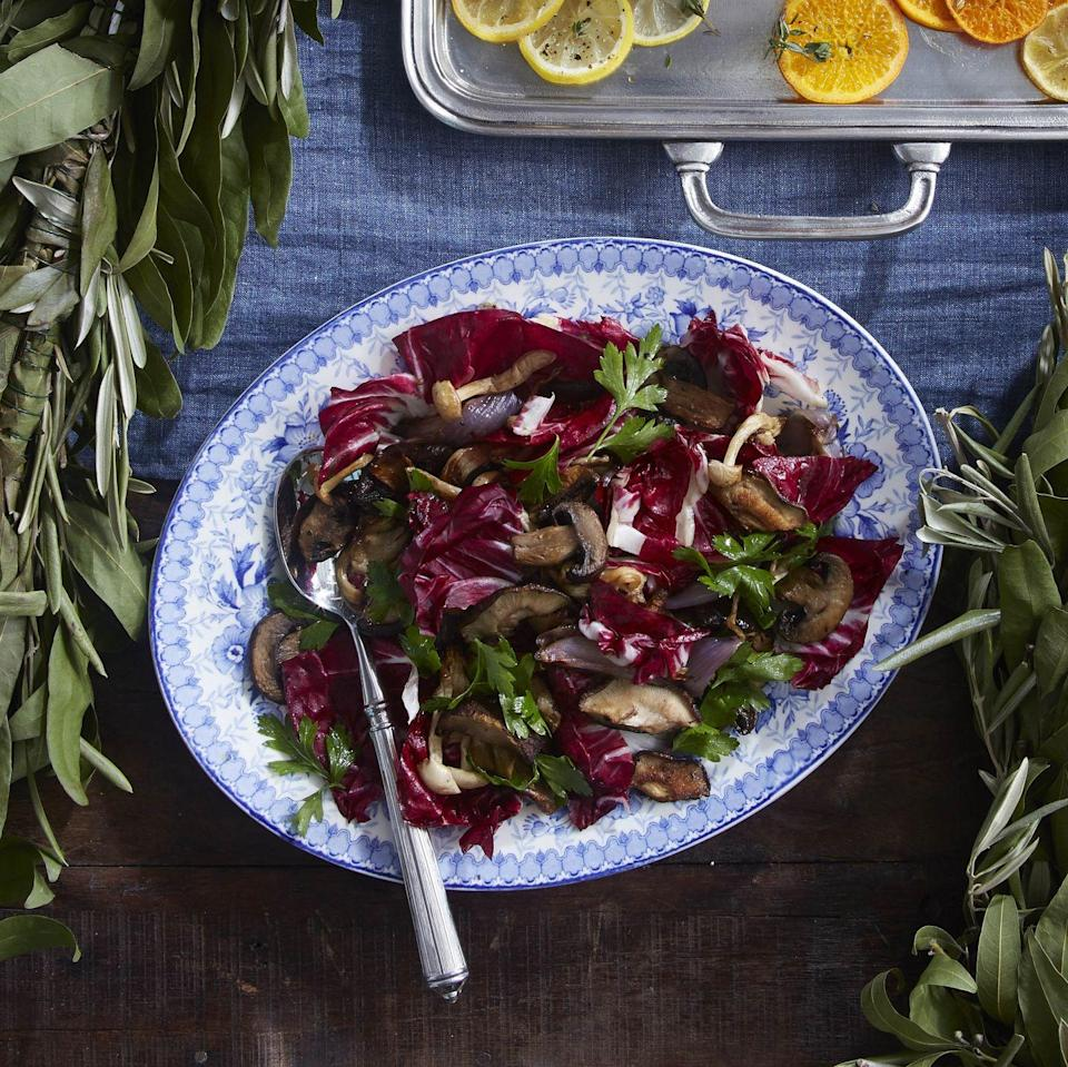 "<p>This ultimate fall side dish boasts the rich flavor of mushrooms, a little bit bitter from fresh radicchio, and a sweet note from balsamic. </p><p><strong><a href=""https://www.countryliving.com/food-drinks/a34347696/roasted-mushrooms-and-radicchio/"" rel=""nofollow noopener"" target=""_blank"" data-ylk=""slk:Get the recipe"" class=""link rapid-noclick-resp"">Get the recipe</a>.</strong></p><p><a class=""link rapid-noclick-resp"" href=""https://www.amazon.com/dp/B00282JL7G?tag=syn-yahoo-20&ascsubtag=%5Bartid%7C10050.g.1078%5Bsrc%7Cyahoo-us"" rel=""nofollow noopener"" target=""_blank"" data-ylk=""slk:SHOP BAKING SHEETS"">SHOP BAKING SHEETS</a></p>"
