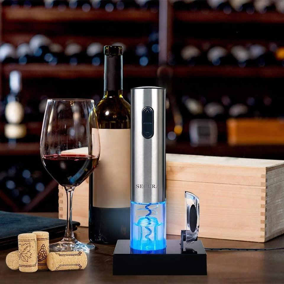 <p>Vinos will appreciate how easy the <span>Secura Automatic Electric Wine Bottle Corkscrew Opener</span> ($21, originally $30) makes opening a good bottle of wine. It is rechargable and comes with a foil cutter. </p>