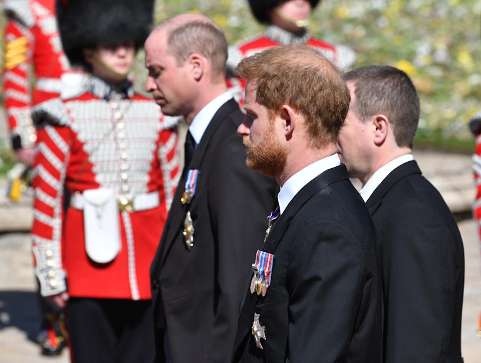 Prince William, Duke of Cambridge; Prince Harry, Duke of Sussex and Peter Phillips walk behind Prince Philip's coffin