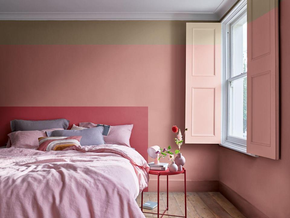 """<p>If you're looking for bold pink and grey bedroom ideas, embrace various shades of pink in a colour block (like a headboard as seen here) — and add in grey through soft furnishings. Punchy and playful, you can create the pink grown-up bedroom of your dreams.</p><p>'Try using two shades of the same colour,' says Rob Abrahams, Co-Founder of <a href=""""https://coatpaints.com/"""" rel=""""nofollow noopener"""" target=""""_blank"""" data-ylk=""""slk:COAT Paints"""" class=""""link rapid-noclick-resp"""">COAT Paints</a>. 'It's a nice way to add interest to a space by creating a complementary tonal scheme, rather than a more traditional contrast wall or ceiling.'</p><p>• '<a href=""""https://go.redirectingat.com?id=127X1599956&url=https%3A%2F%2Fwww.dulux.co.uk%2Fen%2Fcolour-details%2Fstolen-rose&sref=https%3A%2F%2Fwww.housebeautiful.com%2Fuk%2Fdecorate%2Fbedroom%2Fg37103497%2Fpink-grey-bedroom%2F"""" rel=""""nofollow noopener"""" target=""""_blank"""" data-ylk=""""slk:Stolen Rose"""" class=""""link rapid-noclick-resp"""">Stolen Rose</a>', '<a href=""""https://go.redirectingat.com?id=127X1599956&url=https%3A%2F%2Fwww.dulux.co.uk%2Fen%2Fcolour-details%2Fpink-sandstone&sref=https%3A%2F%2Fwww.housebeautiful.com%2Fuk%2Fdecorate%2Fbedroom%2Fg37103497%2Fpink-grey-bedroom%2F"""" rel=""""nofollow noopener"""" target=""""_blank"""" data-ylk=""""slk:Pink Sandstone"""" class=""""link rapid-noclick-resp"""">Pink Sandstone</a>' and '<a href=""""https://go.redirectingat.com?id=127X1599956&url=https%3A%2F%2Fwww.dulux.co.uk%2Fen%2Fcolour-details%2Fbrave-ground&sref=https%3A%2F%2Fwww.housebeautiful.com%2Fuk%2Fdecorate%2Fbedroom%2Fg37103497%2Fpink-grey-bedroom%2F"""" rel=""""nofollow noopener"""" target=""""_blank"""" data-ylk=""""slk:Brave Ground"""" class=""""link rapid-noclick-resp"""">Brave Ground</a>' paint colours all by Dulux</p>"""