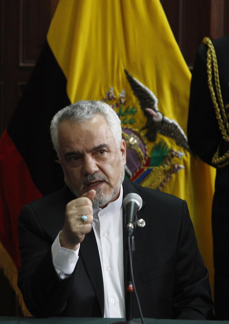 Iranian Vice President, Mohammad Reza Rahimi speaks at the Carondelet presidential palace in Quito, on September 9, 2011
