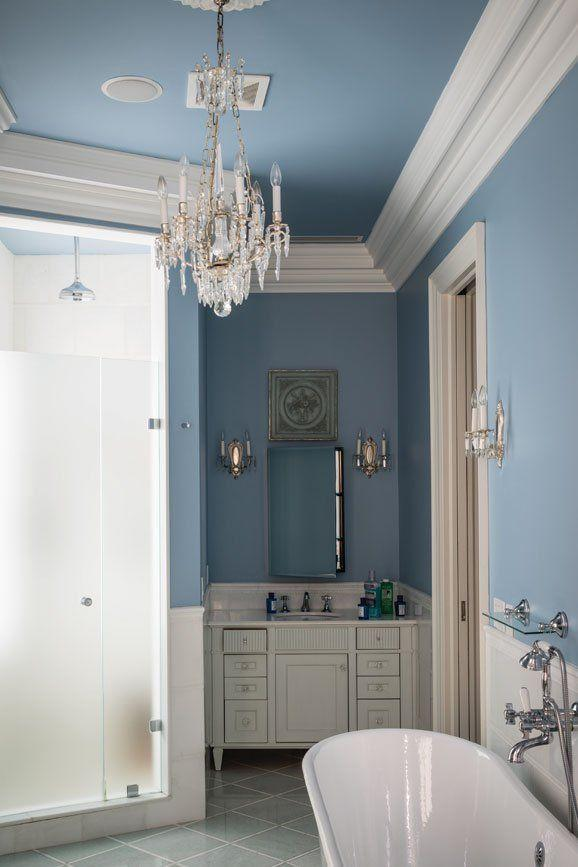 """<p>Blue has regal associations thanks to its historical connection to the British throne, and so makes a happy backdrop for Regency design schemes. This pale shade accentuates crisp white architectural detailing, such as cornicing, and makes a feature of white furniture and fittings. </p><p>Pictured: <a href=""""https://www.farrow-ball.com/paint-colours/lulworth-blue"""" rel=""""nofollow noopener"""" target=""""_blank"""" data-ylk=""""slk:Lulworth Blue at Farrow & Ball"""" class=""""link rapid-noclick-resp"""">Lulworth Blue at Farrow & Ball</a> </p>"""