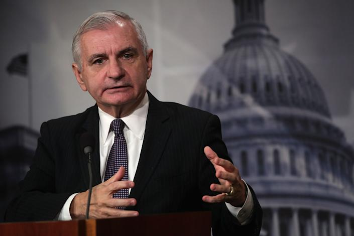 U.S. Sen. Jack Reed (D-RI), ranking member of Senate Armed Services Committee, speaks during a news conference on the Korean Peninsula October 16, 2017 at the Capitol in Washington, DC. (Alex Wong/Getty Images)