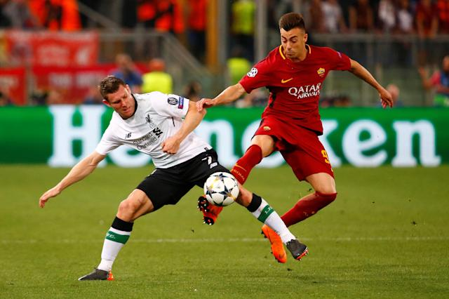 Soccer Football - Champions League Semi Final Second Leg - AS Roma v Liverpool - Stadio Olimpico, Rome, Italy - May 2, 2018 Liverpool's James Milner in action with Roma's Stephan El Shaarawy REUTERS/Tony Gentile