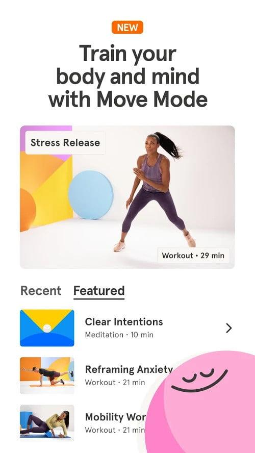 Screenshot of the Headspace app with a picture of a woman exercising in sports gear and a list of different workouts, with text which says Train your body and mind with Move Mode