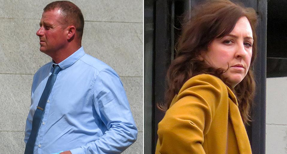 Shaun McCallion has a previous conviction for attacking wife Victoria, who supported him in court. (SWNS)