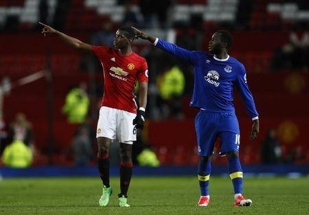Britain Football Soccer - Manchester United v Everton - Premier League - Old Trafford - 4/4/17 Manchester United's Paul Pogba and Everton's Romelu Lukaku after the game Action Images via Reuters / Jason Cairnduff Livepic