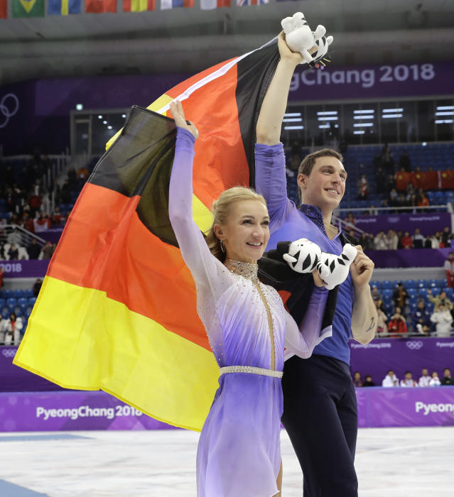 <p>Aljona Savchenko and Bruno Massot of Germany celebrate after winning the gold medal in the pairs free skate figure skating final in the Gangneung Ice Arena at the 2018 Winter Olympics in Gangneung, South Korea, Thursday, Feb. 15, 2018. (AP Photo/Bernat Armangue) </p>