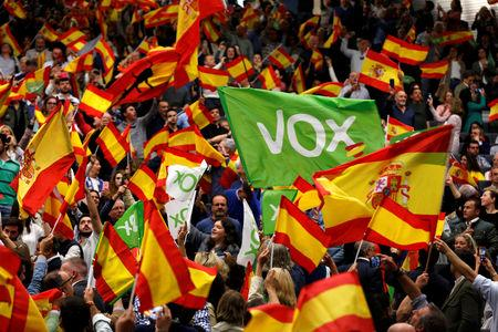 FILE PHOTO: Supporters of the Spain's far-right party VOX wave Spanish flags as they attend an electoral rally ahead of general elections in the Andalusian capital of Seville, Spain April 24, 2019. REUTERS/Marcelo del Pozo/File Photo