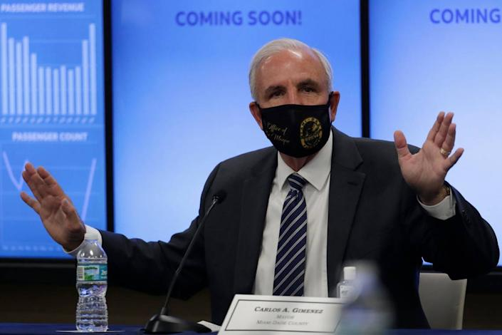 Miami-Dade County Mayor Carlos Gimenez speaks during a roundtable discussion with Florida Gov. Ron DeSantis and Miami-Dade County mayors during the coronavirus pandemic, Tuesday, July 14, 2020, in Miami.