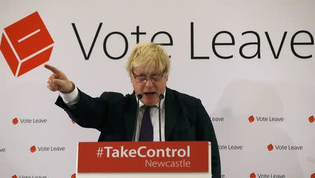 London Mayor Boris Johnson speaks at a Vote Leave rally in Newcastle, Britain April 16, 2016. REUTERS/Andrew Yates