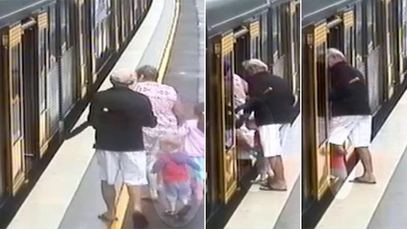 Heart stopping footage captured a boy slipping between a train and platform at Cronulla.