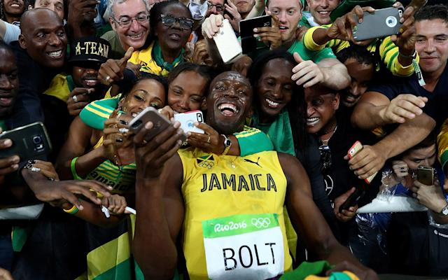 <span>Francis trains alongside Usain Bolt in Jamaica</span> <span>Credit: getty images </span>