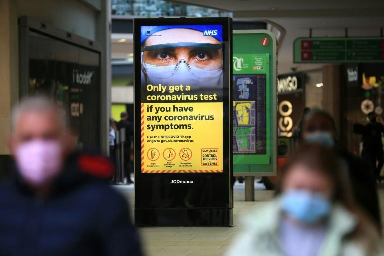 A digital display shows NHS health advice on the coronavirus in Leeds