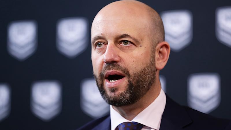 NRL CEO Todd Greenberg is pictured during a press conference in March 2020.