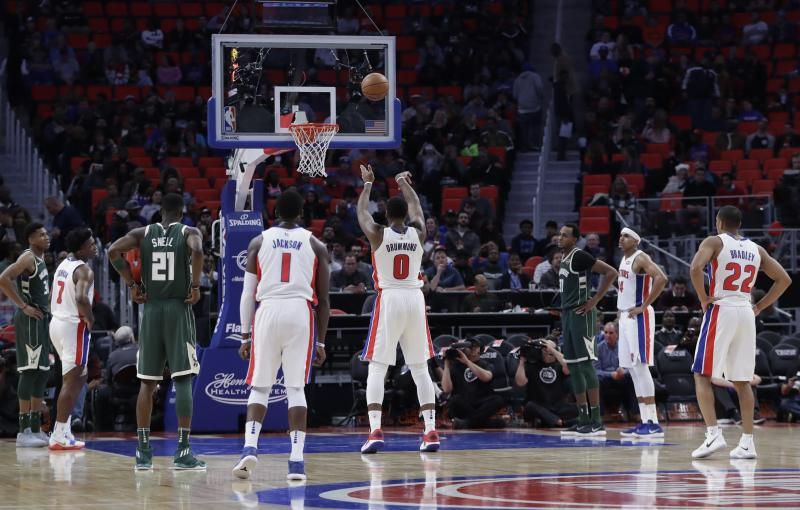 Detroit Pistons center Andre Drummond (0) shoots a free throw during the second half of an NBA basketball game against the Milwaukee Bucks, Friday, Nov. 3, 2017, in Detroit. (AP Photo/Carlos Osorio)