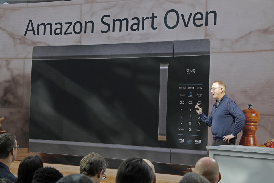 Dave Limp, senior vice president for Amazon devices & services, talks about the new Amazon Smart Oven, Wednesday, Sept. 25, 2019, at an event in Seattle to unveil new products that work with the company's Alexa smart devices line. (AP Photo/Ted S. Warren)