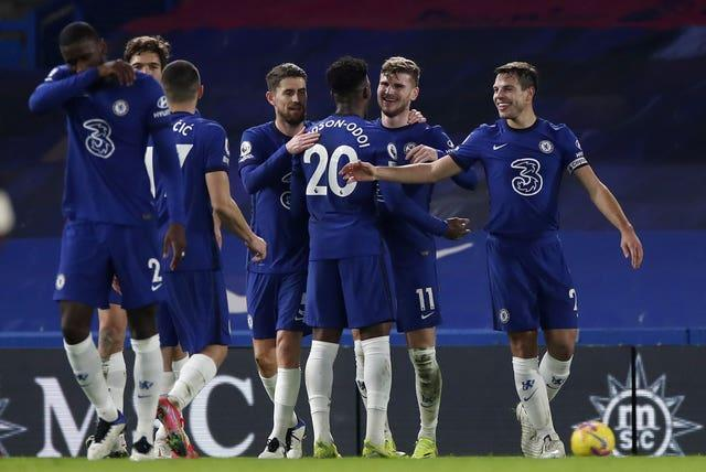 Chelsea's Timo Werner celebrates his long-awaited goal