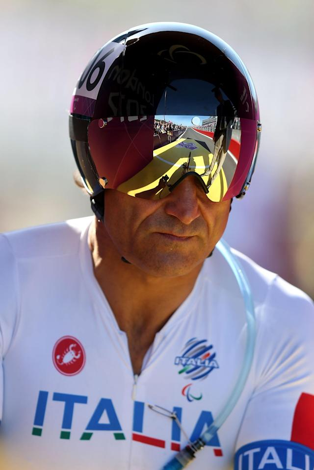 LONGFIELD, ENGLAND - SEPTEMBER 05: Alessandro Zanardi of Italy looks on prior to the start of the Men's Individual H4 Time Trial on day 7 of the London 2012 Paralympic Games at Brands Hatch on September 5, 2012 in Longfield, England. (Photo by Clive Rose/Getty Images)