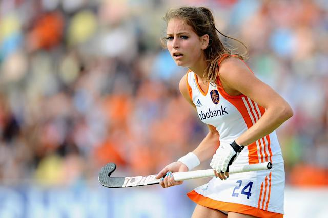 MOENCHENGLADBACH, GERMANY - AUGUST 21: Eva de Goede of Netherlands reacts during the Women´s EuroHockey Championships 2011 Pool A match between Spain and Netherlands at Warsteiner HockeyPark on August 21, 2011 in Moenchengladbach, Germany. (Photo by Dennis Grombkowski/Bongarts/Getty Images)