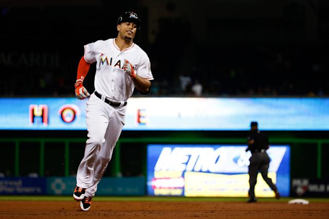Marlins slugger Giancarlo Stanton was among the players named in the Astros leaked trade notes. (Getty Images)