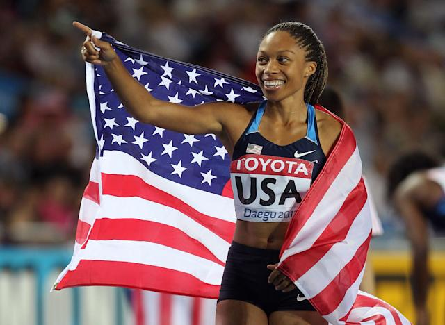 DAEGU, SOUTH KOREA - SEPTEMBER 03: Allyson Felix of the USA celebrates her team's victory in the women's 4x400 metres relay during day eight of 13th IAAF World Athletics Championships at Daegu Stadium on September 3, 2011 in Daegu, South Korea. (Photo by Stu Forster/Getty Images; (Photo by Andy Lyons/Getty Images)