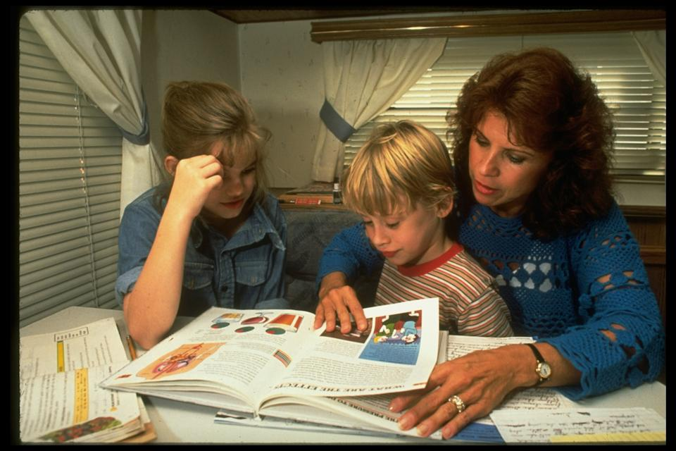 Child actors Anna Chlumsky (R) & Macaulay Culkin (C) working w. tutor Leah Girolami during filming of My Girl. (Photo by Acey Harper/The LIFE Images Collection via Getty Images/Getty Images)