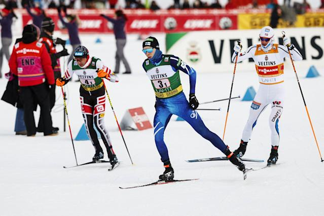 Wihelm Denifl of Austria, Eero Hirvonen of Finland and Jan Schmid of Norway are seen during men's Nordic Combined Team Sprint cross-country skiing of the FIS World Cup in Lahti, Finland March 3, 2018. LEHTIKUVA/Roni Rekomaa via REUTERS ATTENTION EDITORS - THIS IMAGE WAS PROVIDED BY A THIRD PARTY. NO THIRD PARTY SALES. NOT FOR USE BY REUTERS THIRD PARTY DISTRIBUTORS. FINLAND OUT. NO COMMERCIAL OR EDITORIAL SALES IN FINLAND.