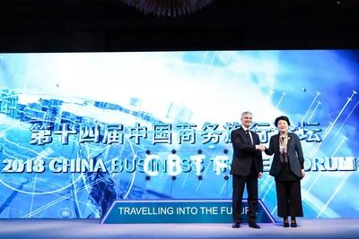 Mrs. Cheng Meihong, Deputy Director General of Shanghai Municipal Tourism Administration Kicks off the 2018 CBTF together with Elyes Mrad, Managing Director, International, American Express Global Business Travel