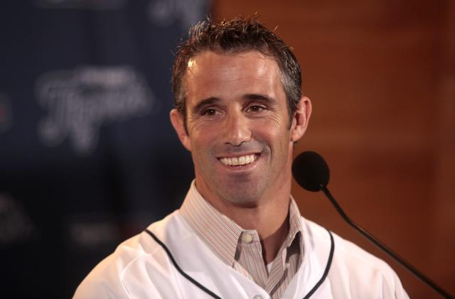 Brad Ausmus answers questions from reporters during a press conference where he was named the 37th manager in franchise history of the Detroit Tigers at Comerica Park in Detroit, Michigan November 3, 2013. REUTERS/Rebecca Cook (UNITED STATES - Tags: SPORT BASEBALL)