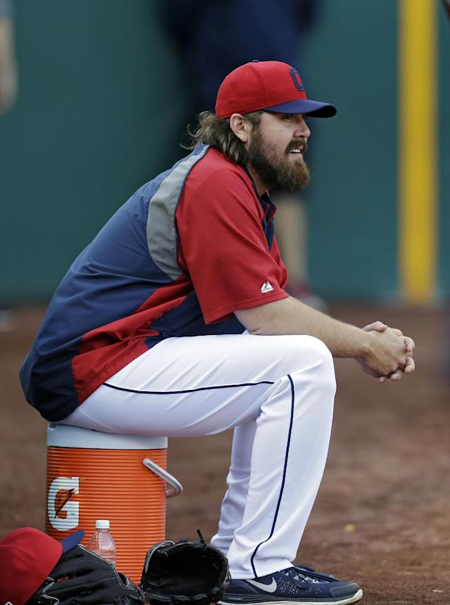 Cleveland Indians relief pitcher Chris Perez watches batting practice before the Indians' AL wild-card baseball game against the Tampa Bay Rayson Wednesday, Oct. 2, 2013, in Cleveland. (AP Photo/Tony Dejak)