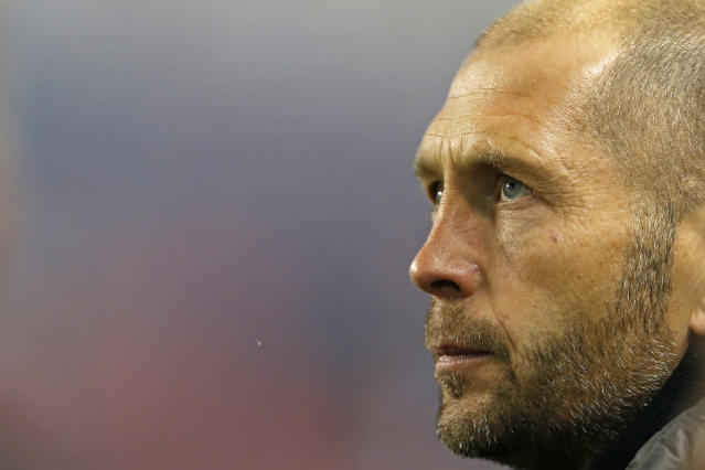 "<a class=""link rapid-noclick-resp"" href=""/soccer/teams/columbus-crew/"" data-ylk=""slk:Columbus Crew"">Columbus Crew</a> head coach Gregg Berhalter is closing in on a deal to lead the U.S. men's national team. (AP/Adam Hunger)"