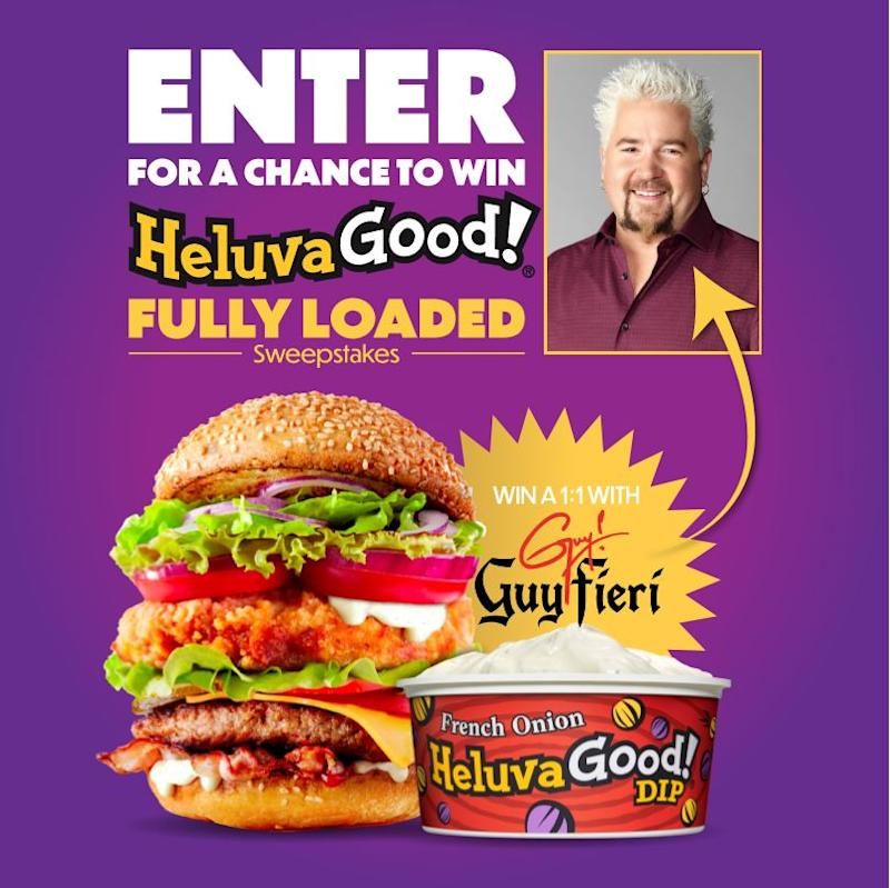 Enter for a chance to win a 1:1 virtual chat with Chef Guy Fieri. (Photo: Heluva Good)