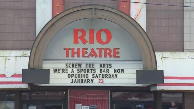 The marquee at the Rio Theatre in Vancouver announcing its transition from a movie theatre to a sports bar to circumvent provincial health rules, which mandate it close.