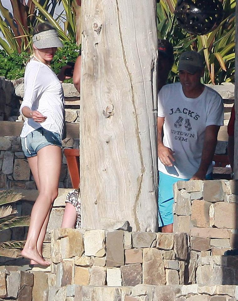 """Also vacationing in Cabo? George Clooney and his Italian girlfriend Elisabetta Canalis. The pair, who are spending the holidays with Canalis' parents, met up with Diaz (pictured) and Rodriguez on Tuesday, who just happened to be staying nearby. It's a small world for rich celebrities! <a href=""""http://www.infdaily.com"""" target=""""new"""">INFDaily.com</a> - December 21, 2010"""