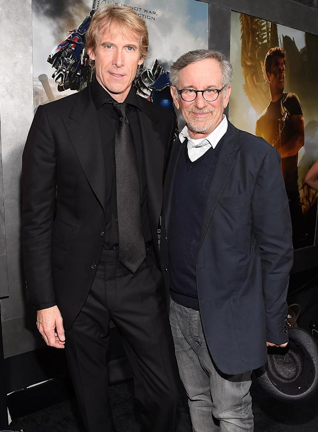 <p>Bay and executive producer Spielberg attend the <em>Age of Extinction</em> premiere. (Photo: Larry Busacca/Getty Images) </p>
